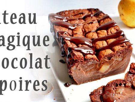 Gâteau magique chocolat et poires